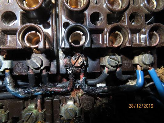 L'enrobage du fil bleu d'une phase est fondu à gauche et on a le cuivre rouge à nu à droite !