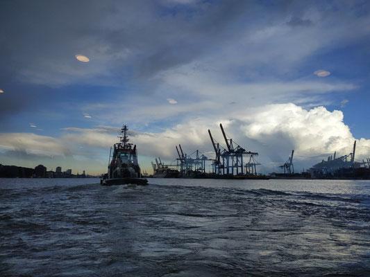 Auf der Fähre, Ausblick auf den Hafen