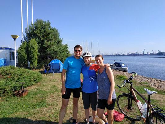 Am Campingplatz in Riga mit Deirdre aus Kanada
