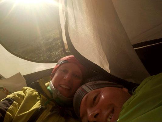 Im eiskalten Zelt am Morgen