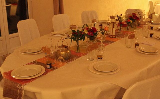 réalisation du chemin de table des mariés