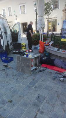 Reparatur am Senkelektrant in der Fuzo Mödling