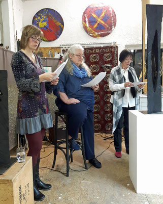 Bianca Heidelberg, Uli Baumgärtel und Hedda Fischer im Atelier GrundschocksArt