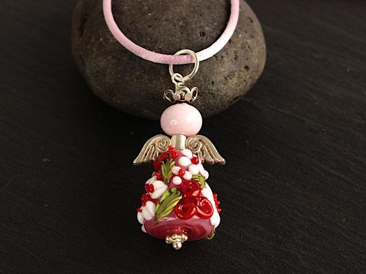 Blumenengel-Anhänger in Rosa und Rot