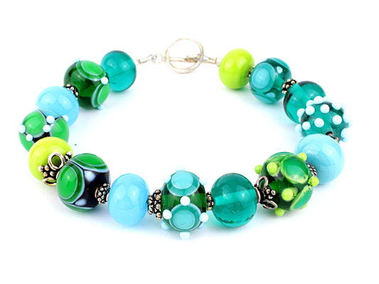 Unikat Armband türkis und grün