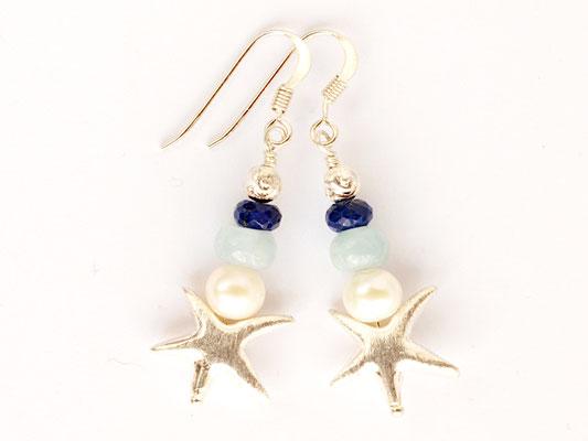 Ohrhänger Seestern mit Aquamarin und Lapislazuli