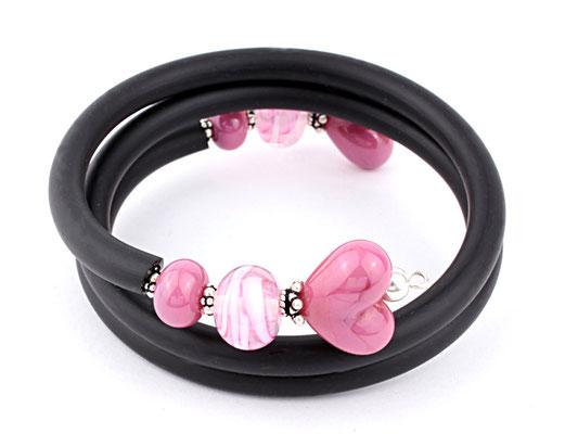 Wickelarmband Herzchen pink