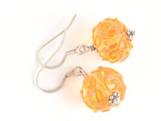 Ohrhänger Arabesque in gelb-orange