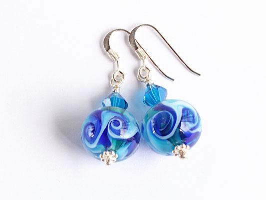 Ohrhänger Calypso in Türkis und Blau, mit Glasschliff-Kristallen