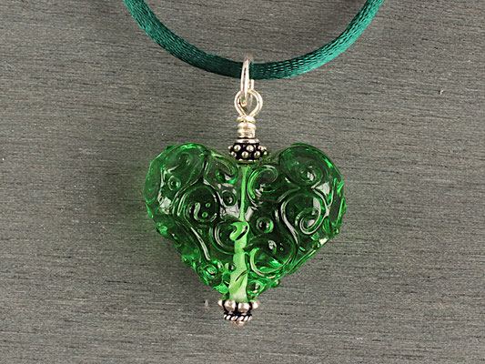 Herz- Anhänger in Grün