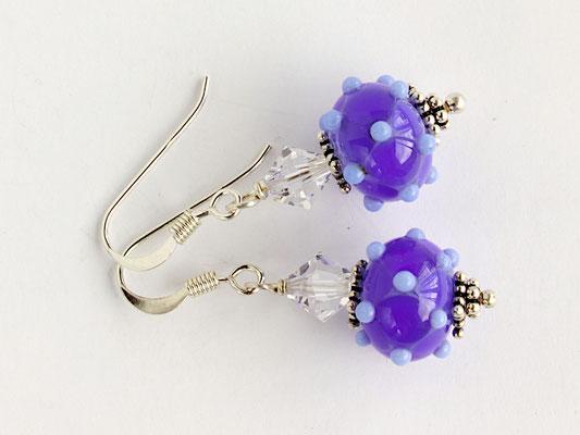 Ohrhänger Venezia in kobaltblau und hellblau, mit geschliffenen Kristallen