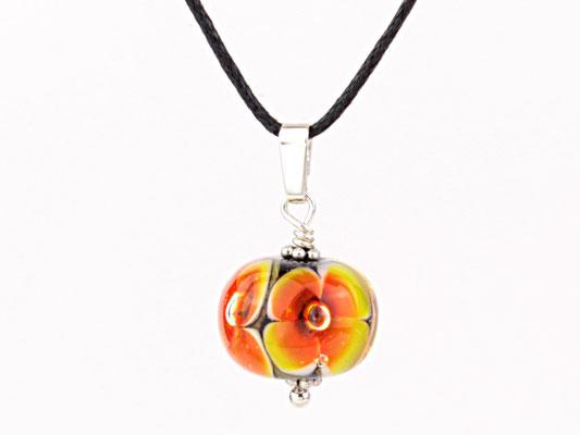 Anhängerchen Blütenzauber orange schwarz