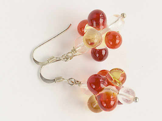 Ohrhänger Tautropfen in Rot-Orange