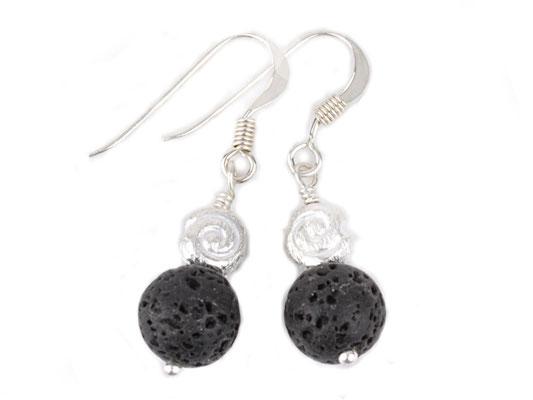 Lava-Ohrringe mit Silber-Schneckchen