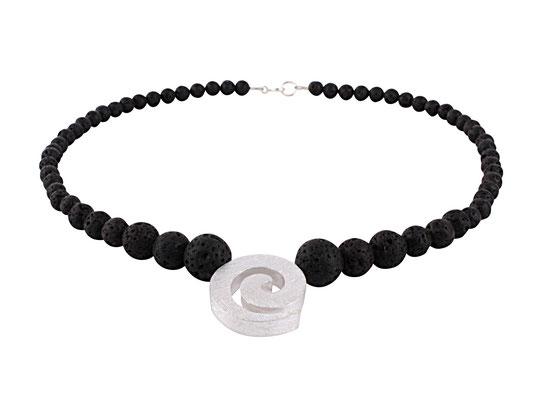 Lava-Verlaufskette mit Silber-Spirale
