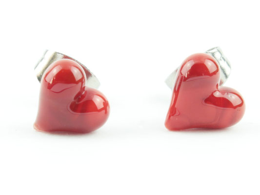 Ohrstecker Herzchen rot