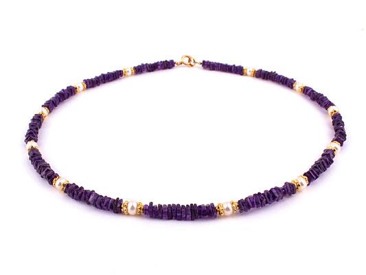 Amethystkette mit Perlen