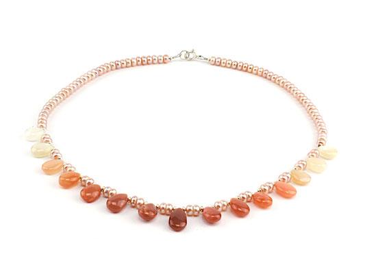 Unikat-Kette Mondsteintropfen und rosa Perlen