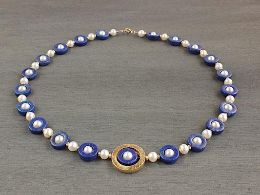 Unikat-Kette aus Lapislazuli-Ringen und Perlen