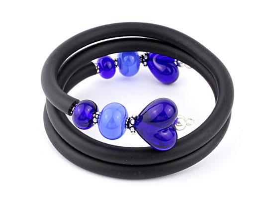 Wickelarmband Herzchen dunkelblau