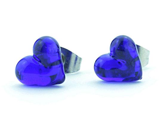 Ohrstecker Herzchen kobalt