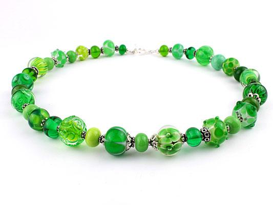 Glasperlen Unikat Kette in Grün