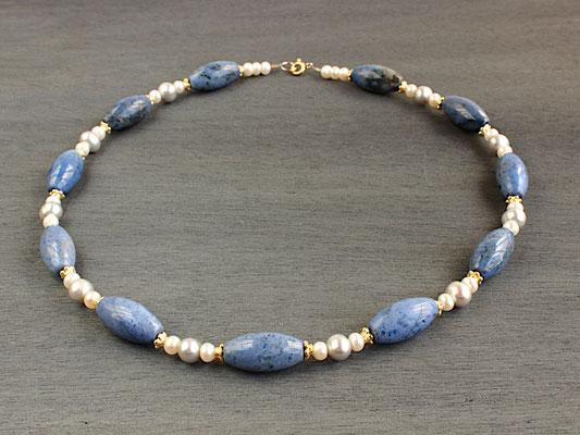 Unikat-Kette aus Dumortierit und weißen und grauen Perlen