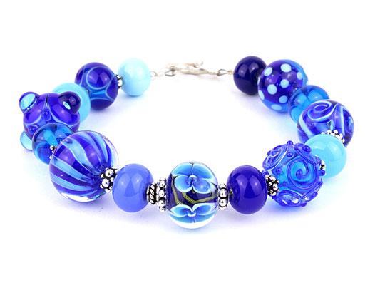 Unikat Armband blau und türkis