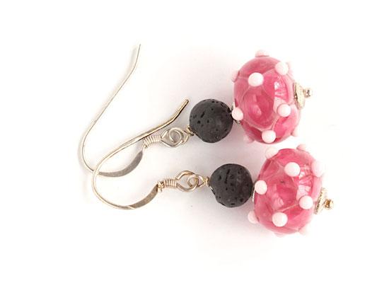 Ohrhänger Venezia in pink und zartrosa, mit Lava