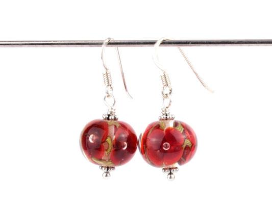 Ohrhänger Blütenzauber in Rot