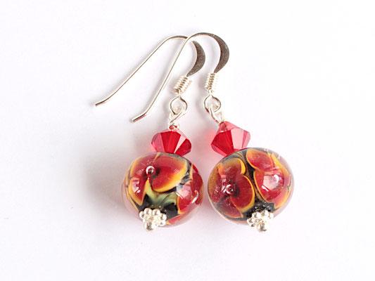 Ohrhänger Blütenzauber in Orange-Rot, mit Glasschliff-Kristallen