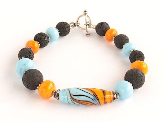 Armband in Sonnengelb und Himmelblau, mit Lava