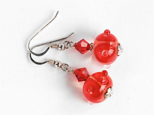 Ohrhänger Boreas in Rot, mit geschliffenen Kristallen