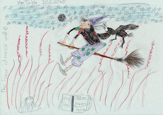 Die kleine Hexe Keppelzahn auf ihrem wilden Besen (Taida, 9 J., NÖ)