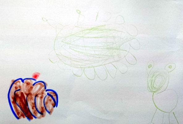 Virusmonster, Gugelhupf und Frosch (Kindergartenkind, ca. 5 Jahre)