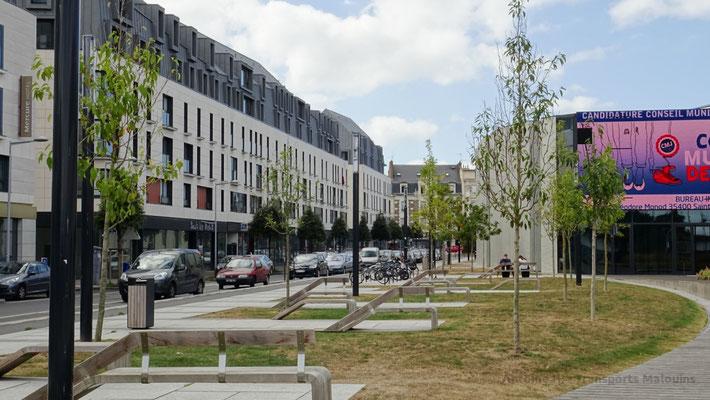 Aménagements paysagers côté rue Théodore Monod, à l'arrière de la Médiathèque. Photo Antoine H.