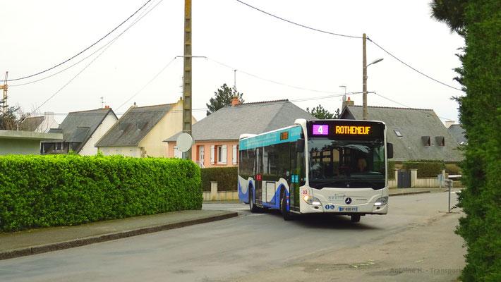 Mercedes Citaro 2 N, en déviation à Rothéneuf