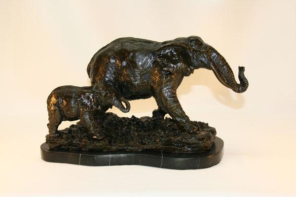 Éléphants-bronze patiné-250€