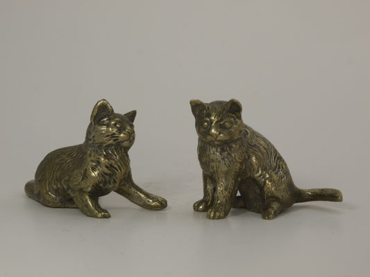 Couple de chats-bronze argenté-160€