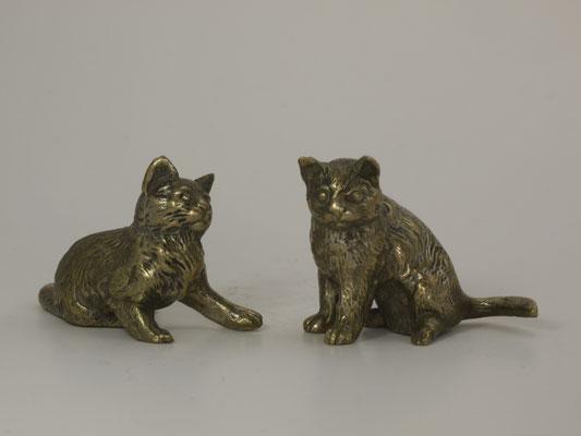 Couple de chats-bronze argenté-160€