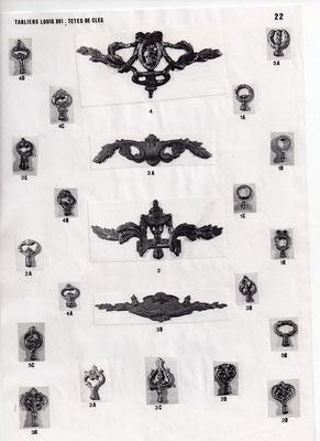 Tabliers louis XVI, têtes de clés