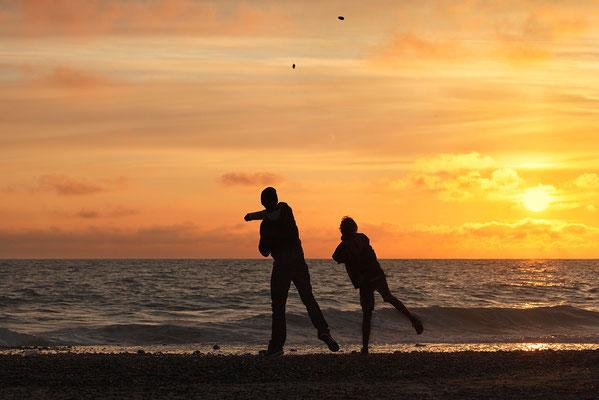 """""""Synchron"""" - Sonnenuntergang an der Westjütlandküste bei Vrist Bild 009 Foto: Regine Schulz"""