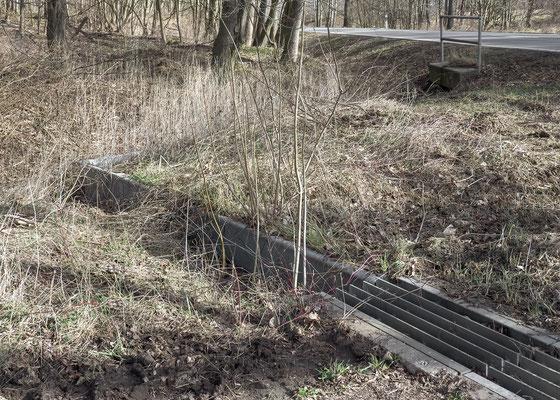 Fallgitter und der fest installierte Leitschutzzaun vor der Reinigung