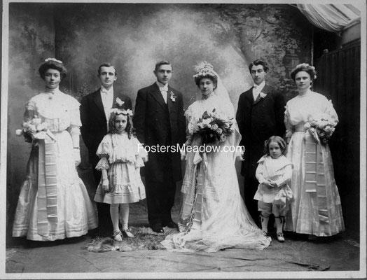 Ofenloch, Joseph & Jacobs, Margaret - Oct. 6, 1908 - St. Ignatius, Hicksville, R>L  Mary K.Jacobs, Caroline B. Rottkamp, John Ofenloch, Henry Jacobs, H. Thomas Rottkamp, Anna Fehring