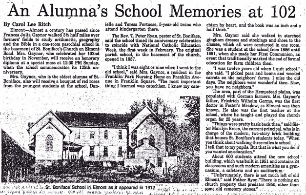An Alumni School Memories at 102 - Frances Julie Gaynor - Newsday 1982