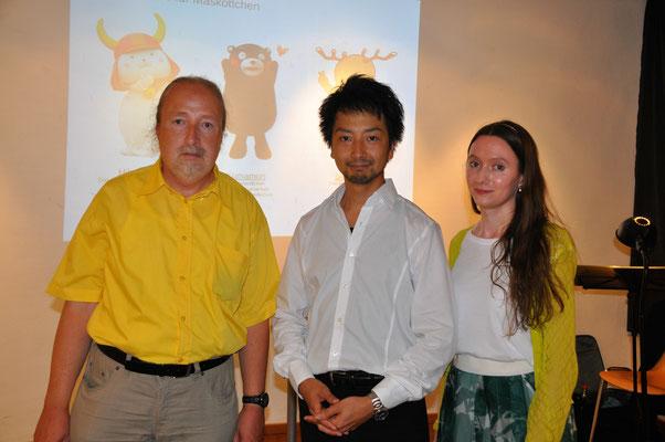 """KuBe Vortrag: """"Die japanische Mentalität nach Shinto"""", 21. Juli 2017 in der Nauwieser 19, Saarbrücken. Michael Britz mit Takuro Okada und Elisa Gummer."""