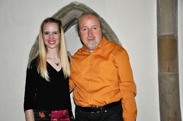 """Gemeinsames Konzert der Akademie für Alte Musik und KuBe e.V, """" El Siglo de Oro - The golden Age"""", Laura Demjan und Heavenly Wood, 12. April 2018 in der Deutschherrnkapelle, Saarbrücken. Auf dem Foto Laura Demjan und Michael Britz"""