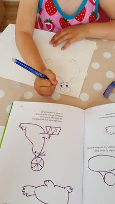 Unsere Kleine mal einen Seehund nach einer Vorlage aus einem Buch