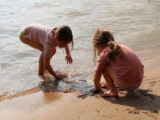 Unsere Mädels am Rhein-Strand nahe der Fähre Oppenheim