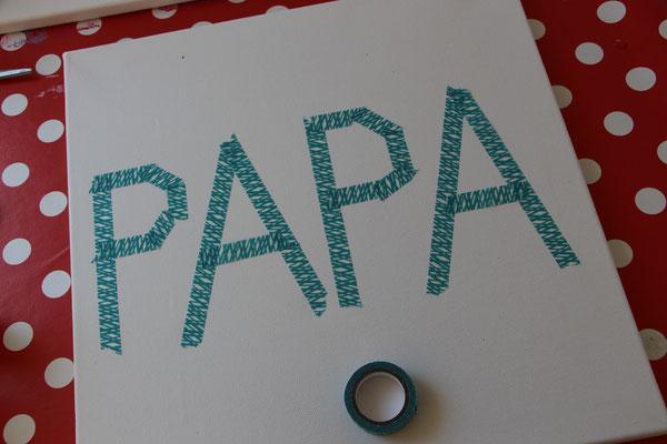 Papa mit Tape auf eine Leinwand geklebt